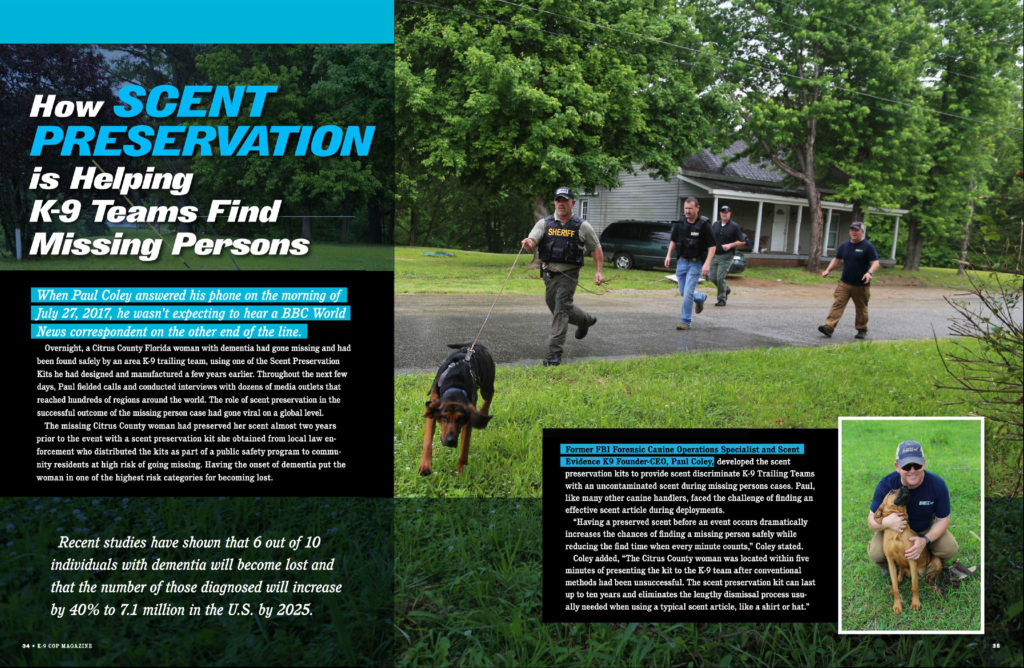 K9 Cop Scent Preservation Article