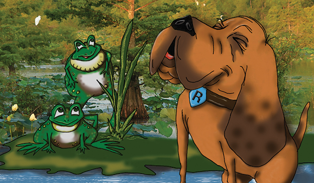 Rex the Rescue Pup barks at bullfrogs