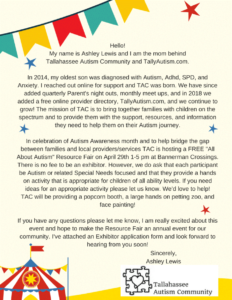 Tallahassee Autism Community Flyer