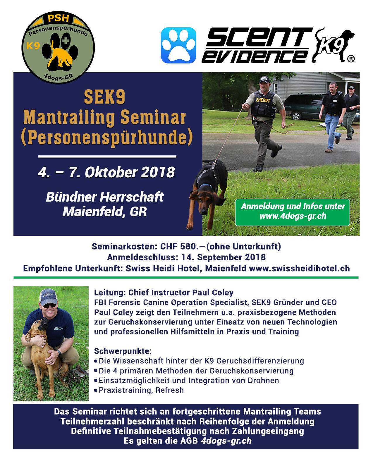 PSH SEK9 Mantrailing Seminar