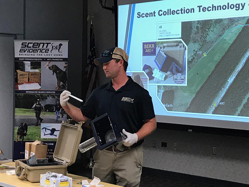 Scent Evidence K9 Training Manager, Trey Cash, demonstrates The SEKR.